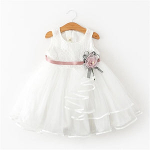 Fancy Baby Girl White Party Dress With Floral Band