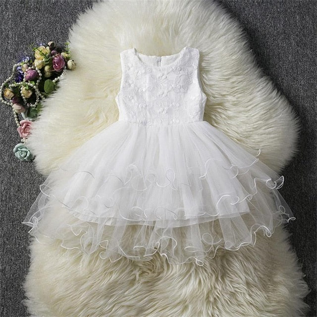 Fancy Baby Girl White Party Dress