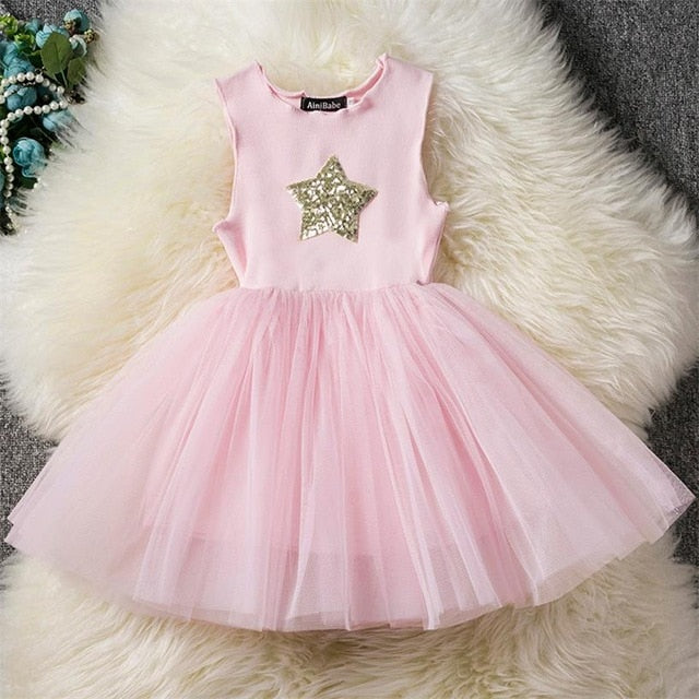 Fancy Baby Girl Pink Party Dress With Sparkling Star