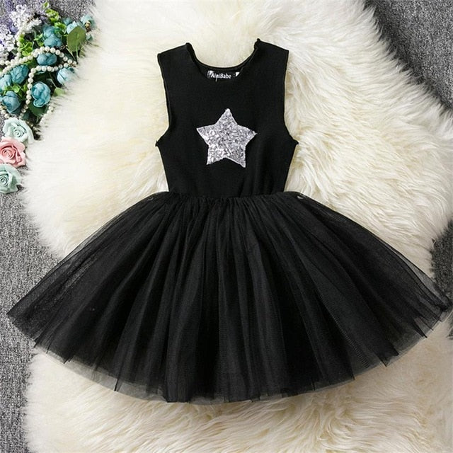 Fancy Baby Girl Black Party Dress With Sparkling Star-girls skirts and dresses-Purple Bees