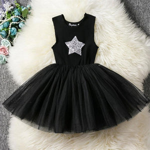 Fancy Baby Girl Black Party Dress With Sparkling Star