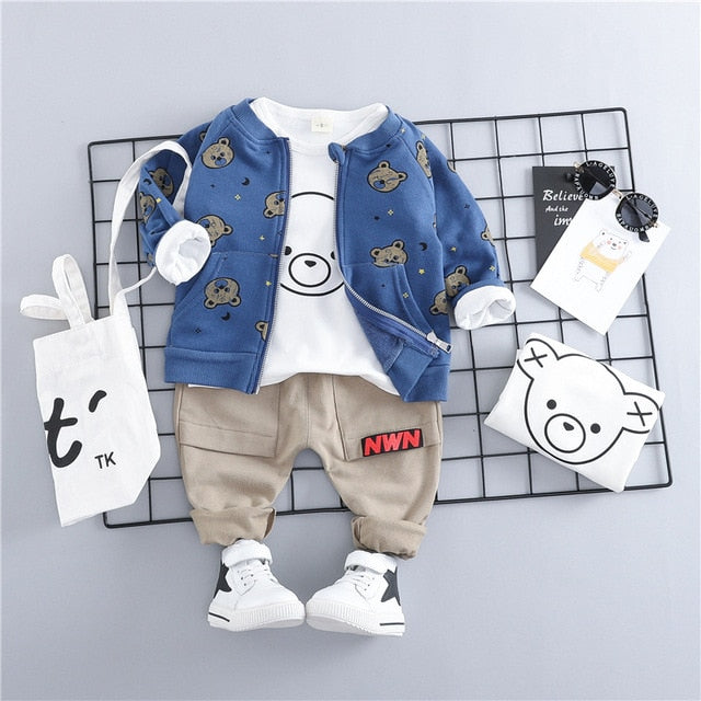 Fashion Teddy Boy Outfit Set-boys pants boys tops-Purple Bees