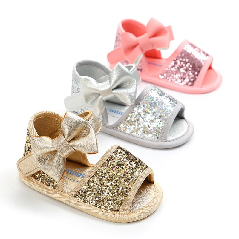 Newborn Baby Girl Glitter Shoes + Headband 2PCS