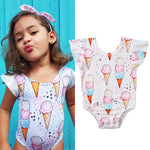 Baby Girl Sweet Bodysuits With Ice Cream Print