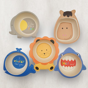 Baby Kids Natural Bamboo Fiber Animal Shaped Bowls