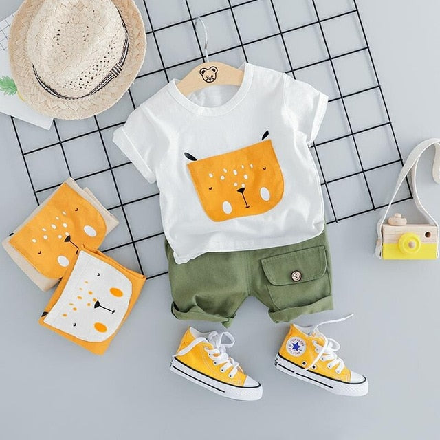 Casual Short & T-shirt With Cartoon Fox Print-unisex pant and top-Purple Bees