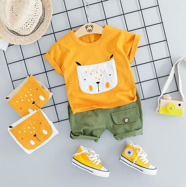 Casual Short & T-shirt With Cartoon Fox Print
