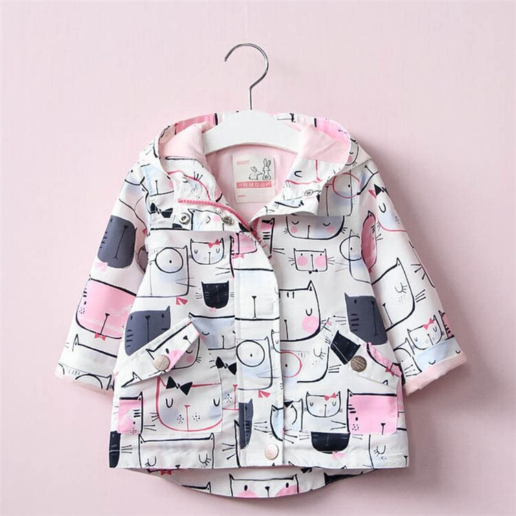 Cute Spring/Autumn Cartoon Printed Coats-girl outerwear-Purple Bees