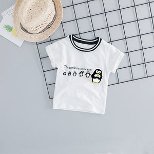 Penguin T Shirt & Shorts Kids Outfit-unisex pant and top-Purple Bees