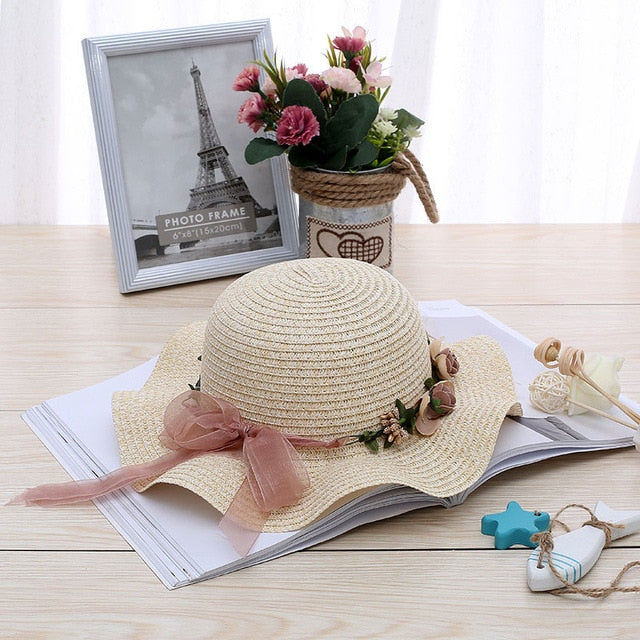 Kids Colorful Floral Straw Hats-accessorises-Purple Bees
