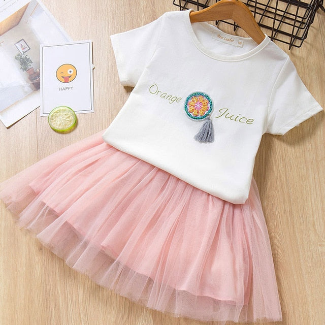 Spring Mesh Dresses for 2-8 Years Old Girls