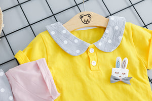 Summer Girlish Bunny Set-girls pant and top-Purple Bees