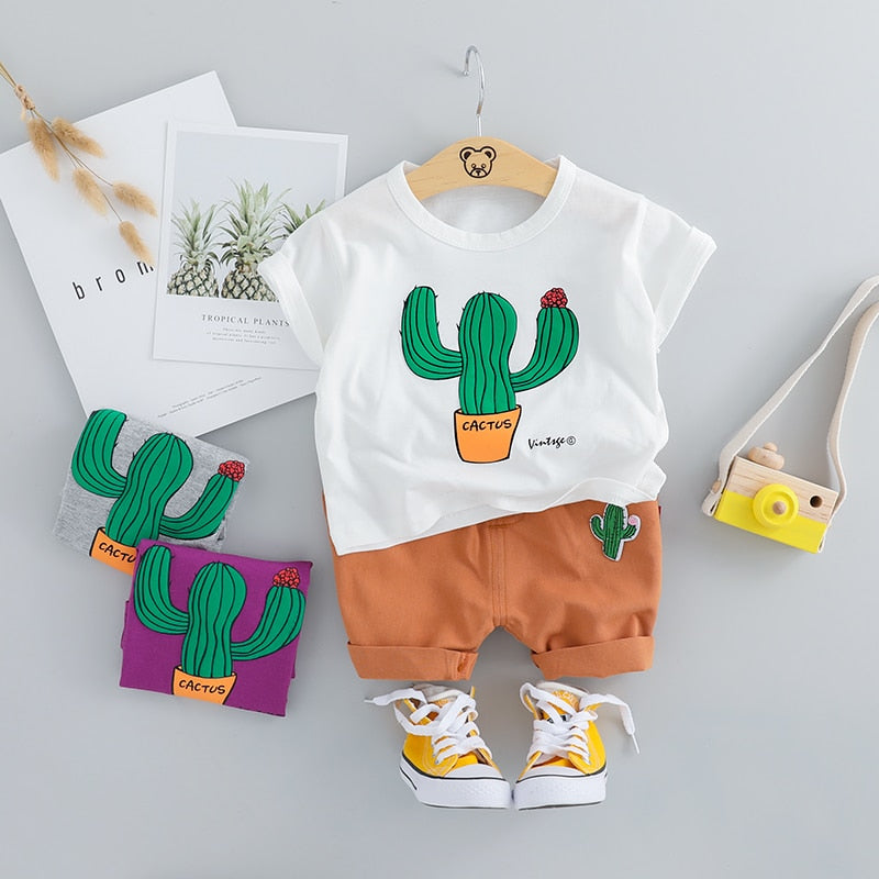 Cute Cactus Print Unisex Clothing Set-unisex pant and top-Purple Bees