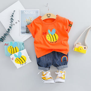 Bee Unisex Summer Outfit-unisex pant and top-Purple Bees