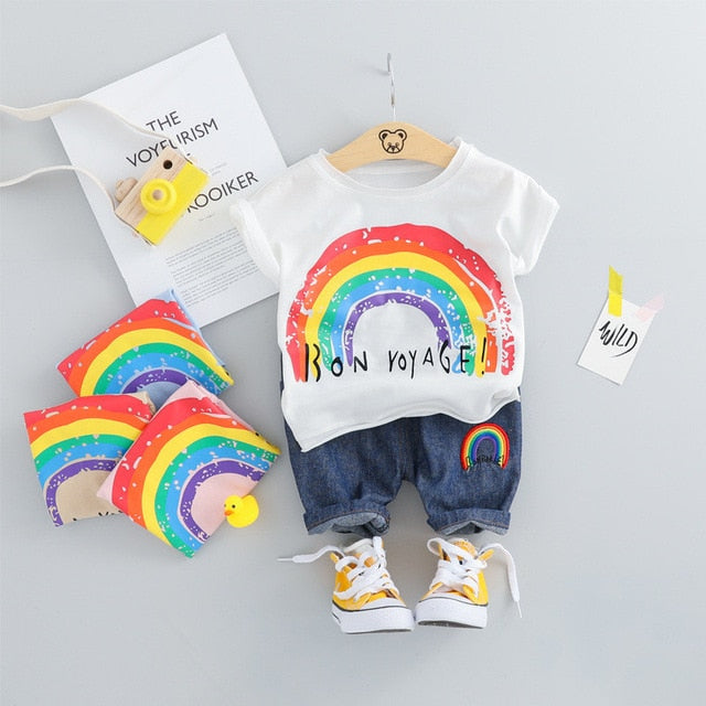 Rainbow Unisex Summer Outfit-unisex pant and top-Purple Bees
