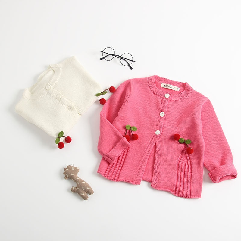 Adorable Baby Girl Knitted Cherry Cardigan-girl outerwear-Purple Bees