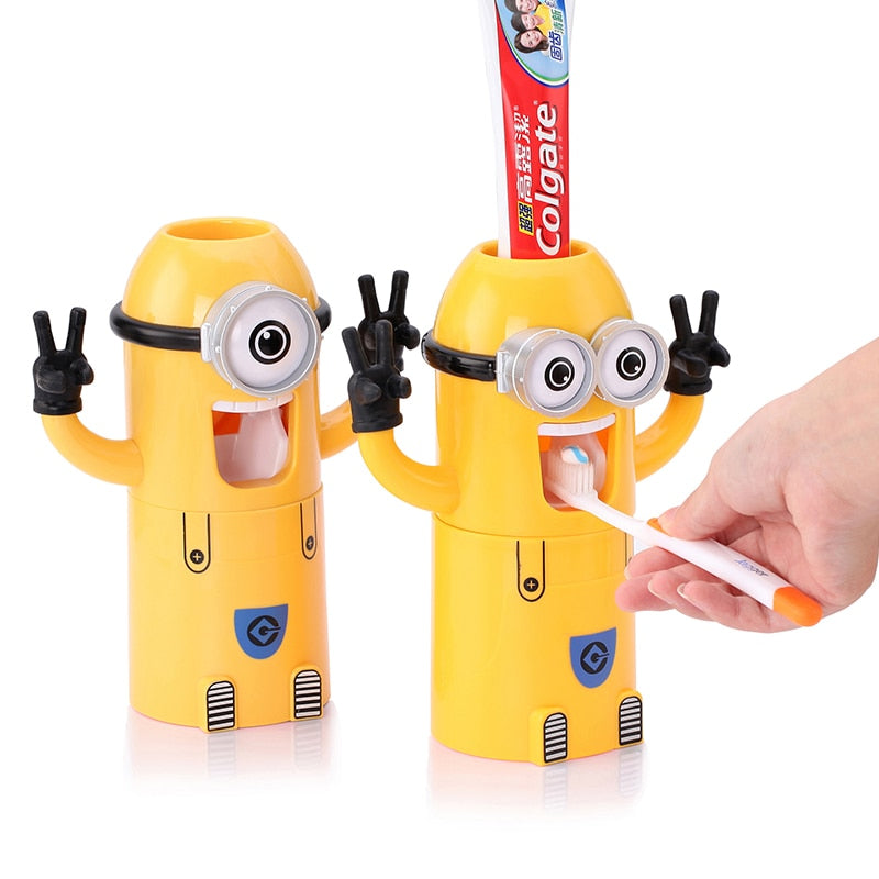 Children's Automatic Minion Toothpaste Dispenser-toothbrush holder-Purple Bees
