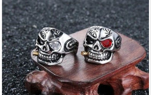 Stainless Steel Smoking Skull Ring