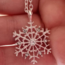 Load image into Gallery viewer, Silver Snowflake Pendant and Chain