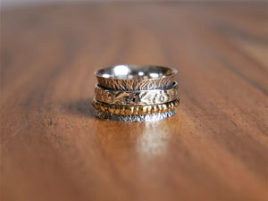 Esmeralda Brass and Silver Spin Ring - Ocean Gypsy NZ