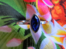 Load image into Gallery viewer, Sapphire Swarovski Crystal Surfboard Style Ring - Ocean Gypsy NZ