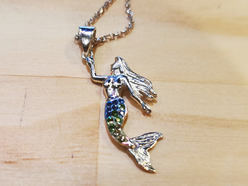 Colourful Sparkling Mermaid Necklace with Italian Chain - Ocean Gypsy NZ