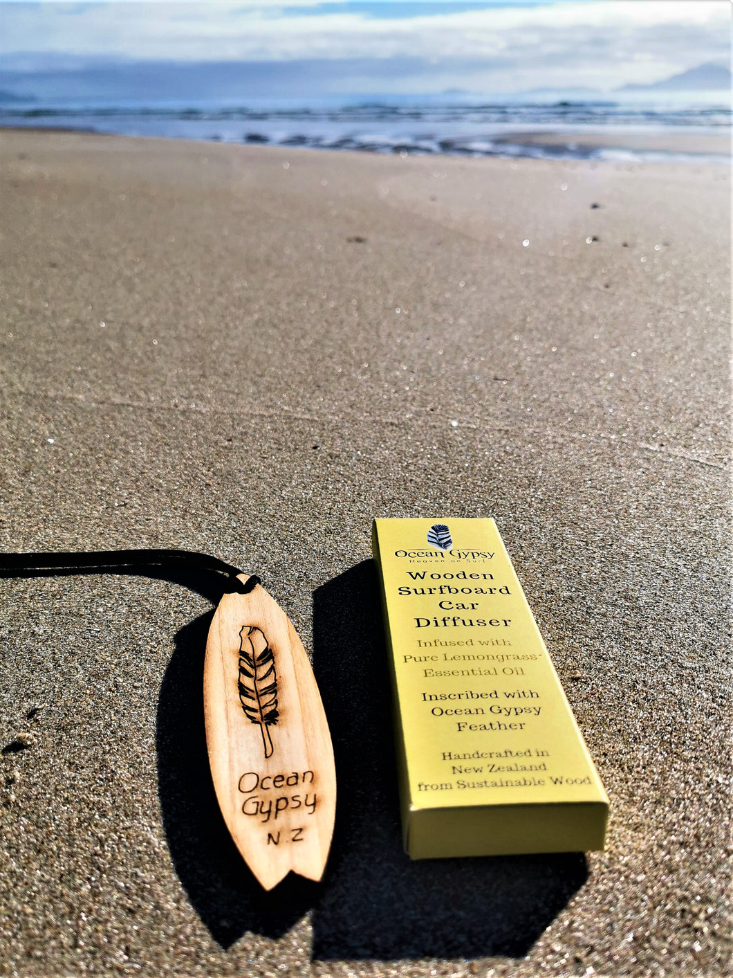 Lemongrass Wooden Surfboard feather Car Diffuser - Ocean Gypsy NZ