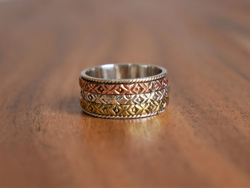 Tillie Three Band Brass, Copper & Silver Spin Ring - Ocean Gypsy NZ