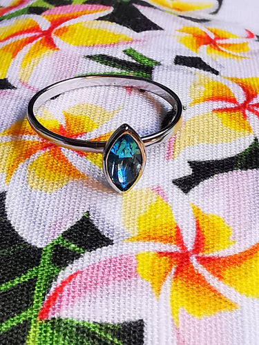 Swarovski Crystal Surfboard Style Ring in Light Turquoise - Ocean Gypsy NZ