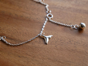 Whale Tail Silver Anklet - Ocean Gypsy NZ