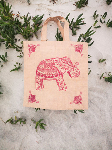 Elephant Jute Tote, perfect for your towel, sunscreen and a day at the beach. - Ocean Gypsy NZ