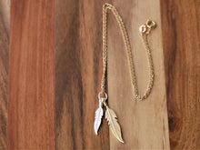 Load image into Gallery viewer, Gold & Silver Ocean Gypsy Feather Necklace - Ocean Gypsy NZ