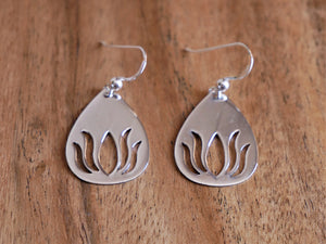 Large Solid Lotus Sterling Silver Earrings - Ocean Gypsy NZ