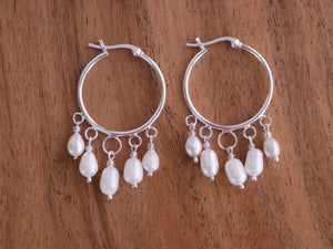 Freshwater Pearl Hoop Earrings - Ocean Gypsy NZ