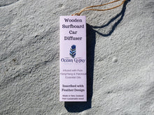 Load image into Gallery viewer, Ylang Ylang Wooden Surfboard with Feather Car Diffuser - Ocean Gypsy NZ