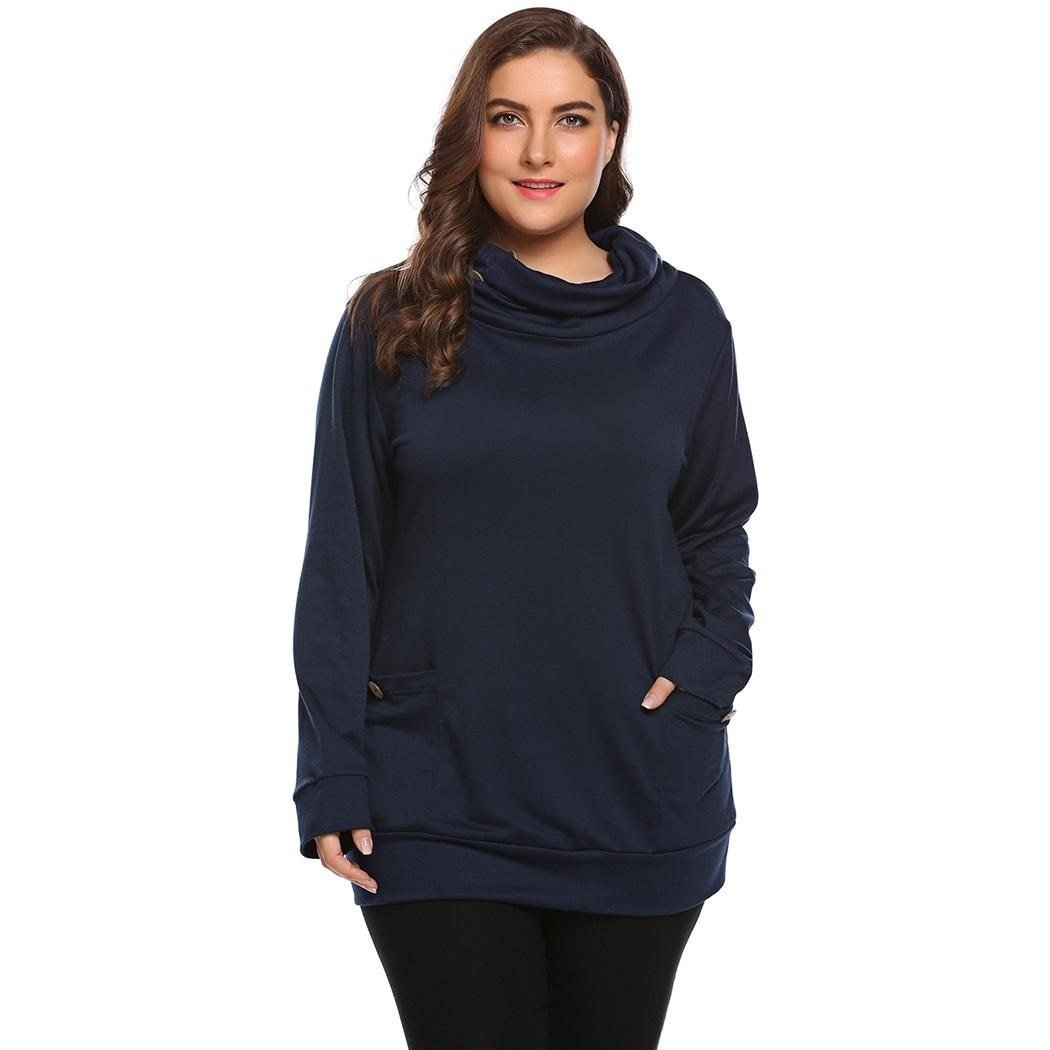 Plus size casual high neck 2 pocket top