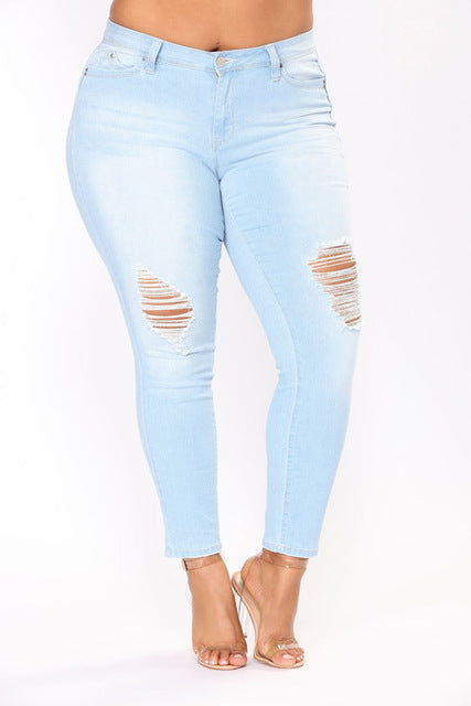 PLUS SIZE Sexy High Waist Ripped  Jeans