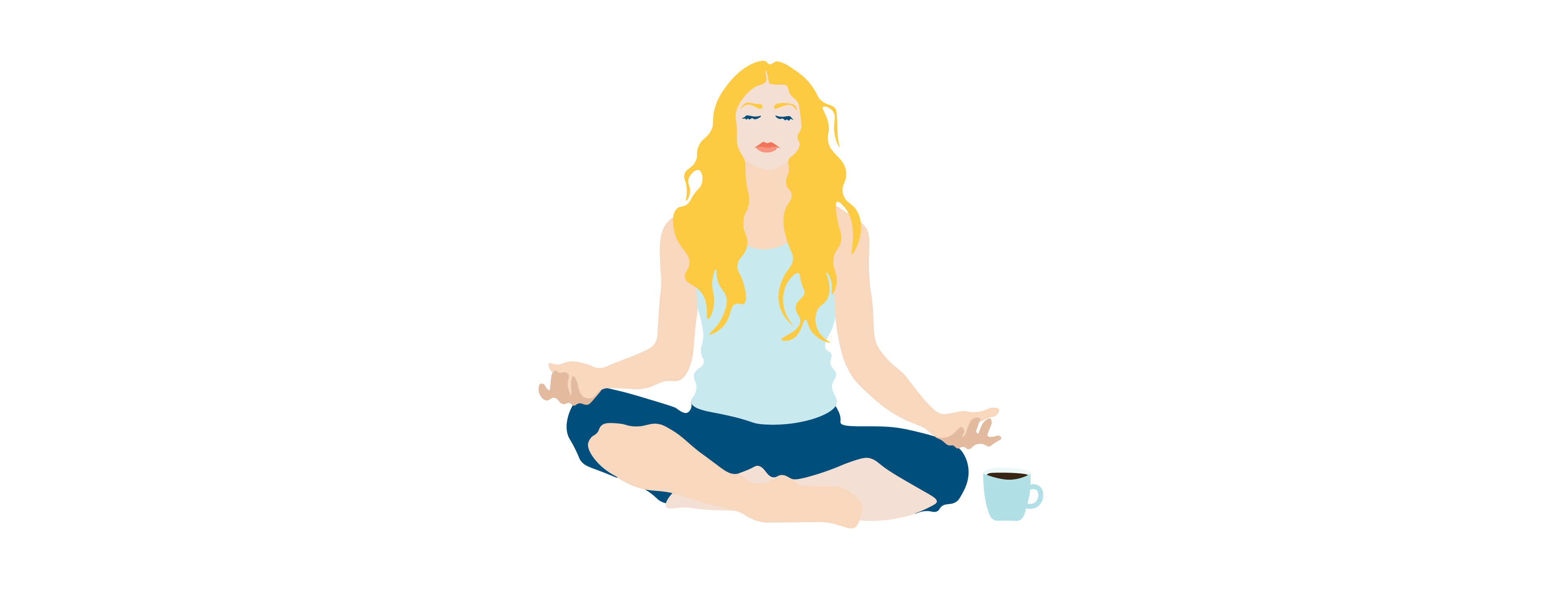 woman doing yoga drinking coffee