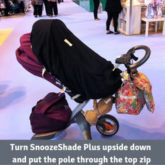 SnoozeShade Plus on a parent-facing Stokke Xplory