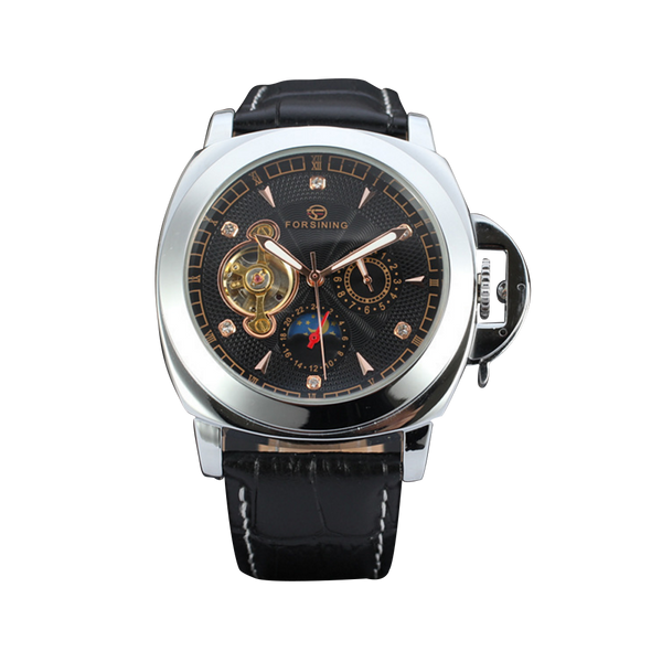 FORSINING Leather Strap Multi-dial Watch
