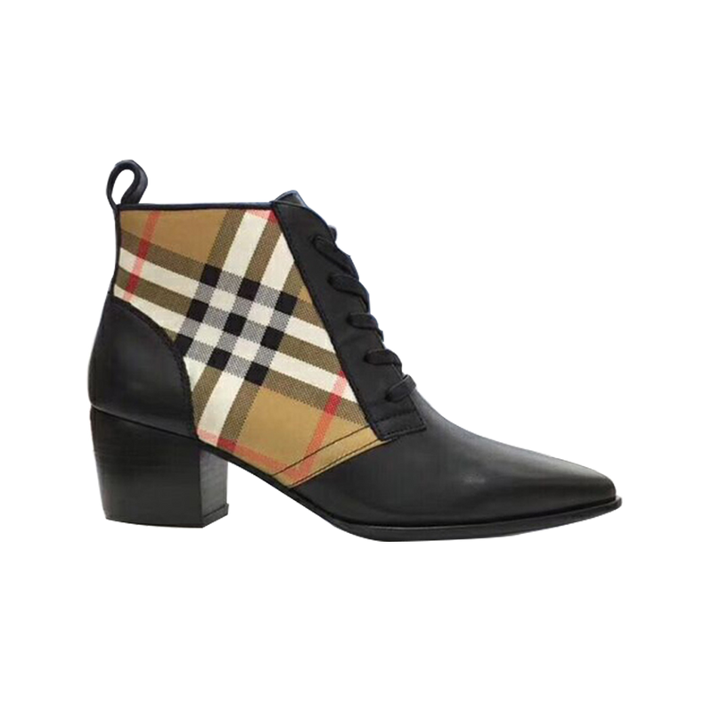 Flat-bottomed Plaid Boots