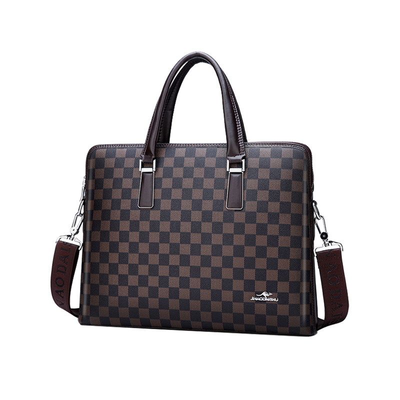 Men's Checkered Briefcase