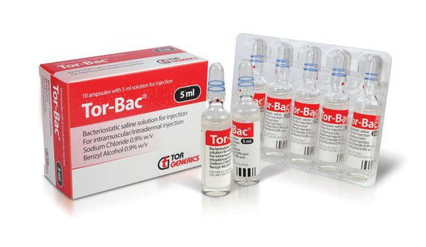 Tor-bac Bacteriostatic Saline Solution 5ml, pk/10 2484