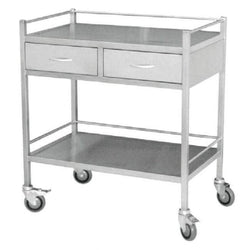 Stainless Steel  Trolley Large Double Shelf Including  Two Drawers 3028