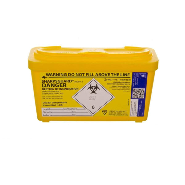 Just Care Beauty Aesthetic Skincare 1 Litre Sharpsguard Yellow Sharps Bin