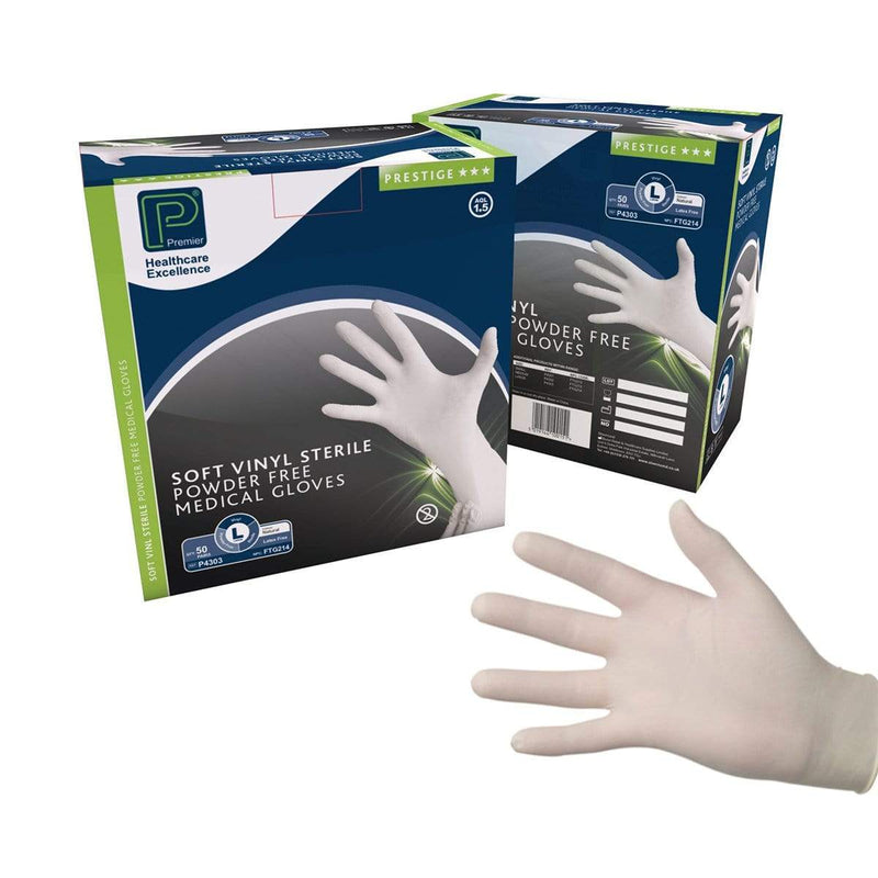 Just Care Beauty Sterile Premier Soft Vinyl Powder Free Gloves, 50 Pairs