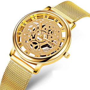 Luxury Skeleton Watches Men Watch Fashion Gold Watch Steel Mesh Watch