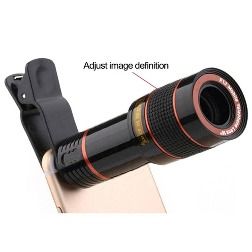 Universal 8X Zoom Mobile Phone Telephoto Lens Clip Accessory 😊 External Smartphone Camera Lens for iPhone Android