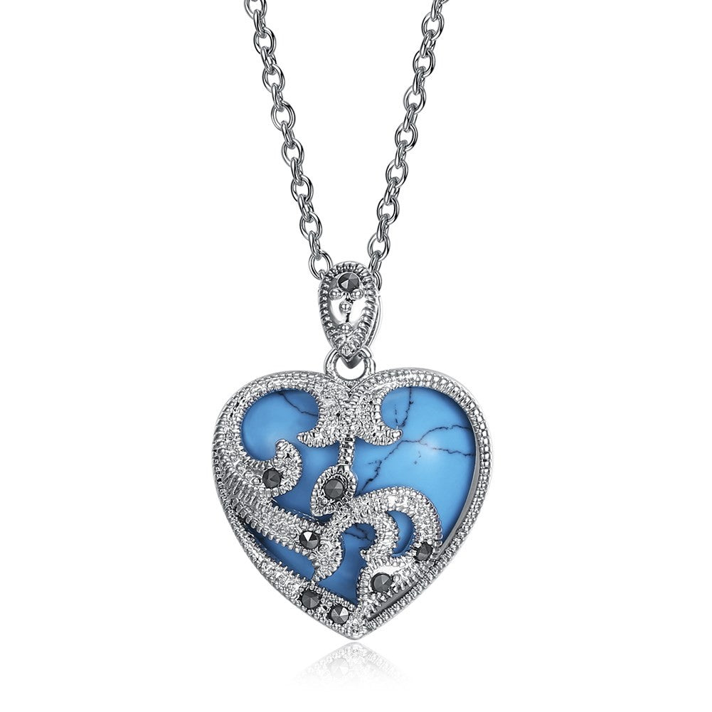 "Turquoise Gemstone ""My Heart Will Go On"" Necklace - White Gold"