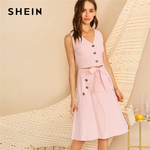 3e80daaa22 SHEIN Boho Pink V-neck Button Front Striped Slim Fitted Crop Top and Belted  Midi